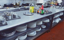 Plates and kitchen utensils